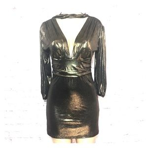 Longsleeve gold Leme mini dress